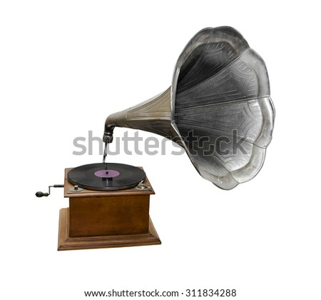 Retro gramophone isolated on a white background. - stock photo