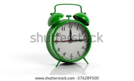 Retro green alarm clock, isolated on white background.