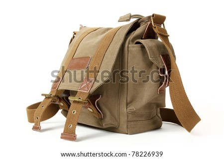 Retro green brown backpack isolated on white background - stock photo