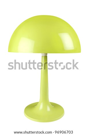 Retro green lamp on white background with clipping path