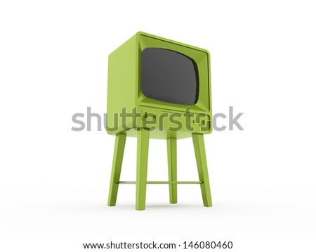 Retro green TV isolated on white background - stock photo
