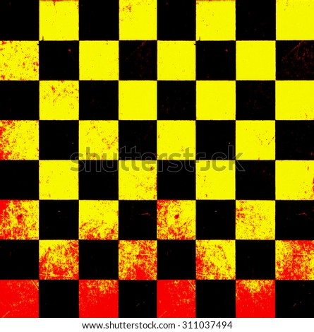 Retro grunge chessboard background texture with blood