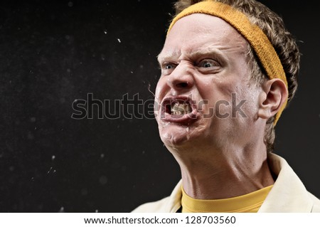 Retro Gym Coach Cursing With Spit Flying Out Of His Mouth - stock photo
