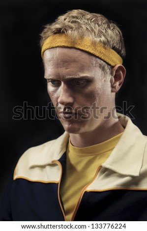 Retro Gym Coach Devastated From Loss - stock photo