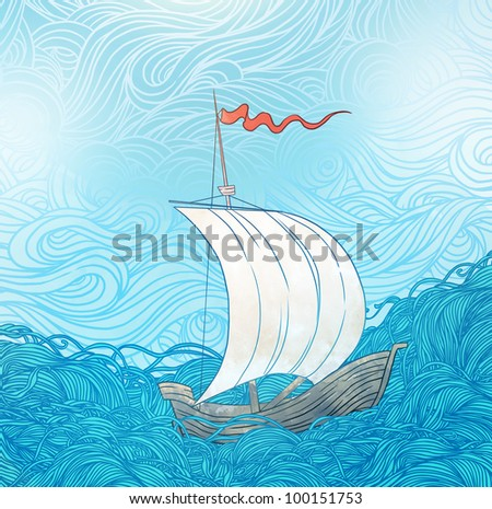 Retro hand draw styled blue sea with clouds and sailor boat