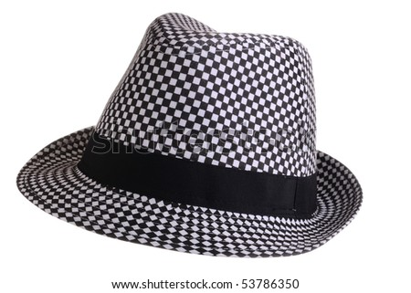 Retro hat isolated on white background - stock photo