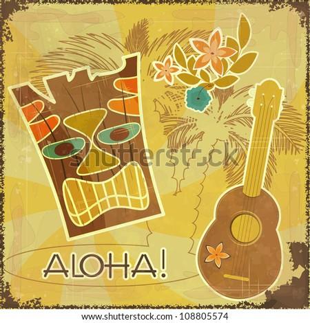 Retro Hawaiian postcard - invitation to Beach party - JPEG version - stock photo