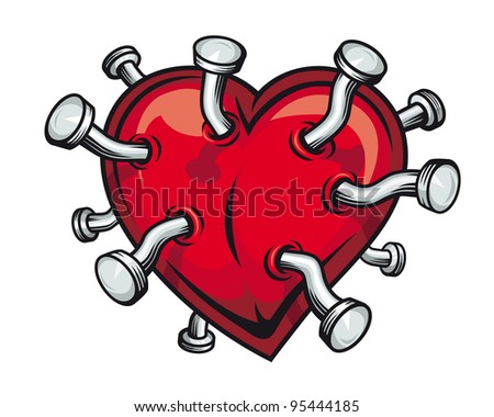 Retro heart with bent nails for t-shirt or mascot design - stock photo