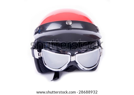 Retro helmet and goggles motorcyclist's - stock photo