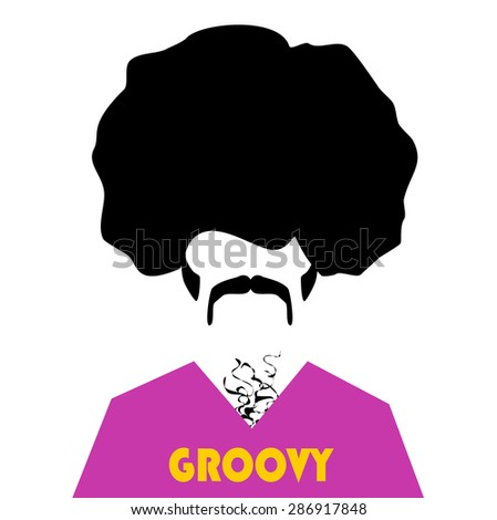 retro hipster with afro and groovy shirt - stock photo