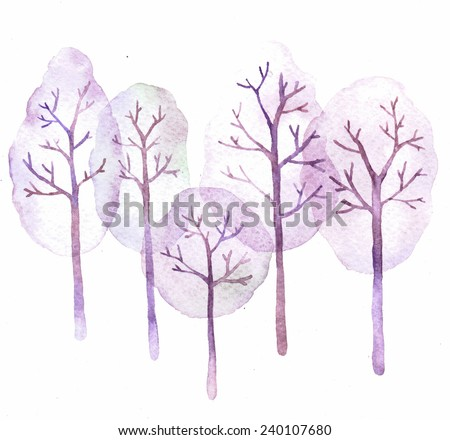 Retro holiday card - illustration. Abstract springtime purple trees. Watercolor illustration of trees on white background.  - stock photo