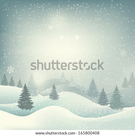 Retro holiday christmas background with winter landscape. Raster version of vector - stock photo