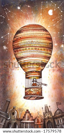 Retro hot air balloon. Illustration by Eugene Ivanov.