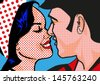 Retro Hot Pop Art KIssing Couple man and woman - stock vector