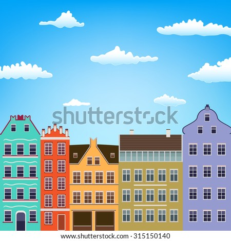 retro house facade and sky with clouds background. raster version - stock photo