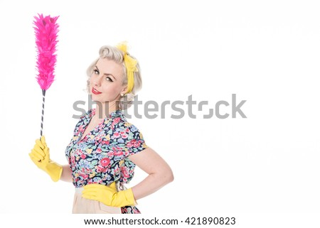 Retro housewife, with feather duster, isolated on white with space for text
