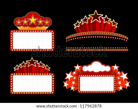 Retro illuminated Movie marquee Blank signs - stock photo