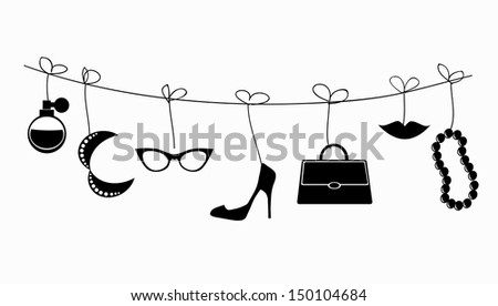 Retro illustration - lady's accessories hanging on the strings. - stock photo