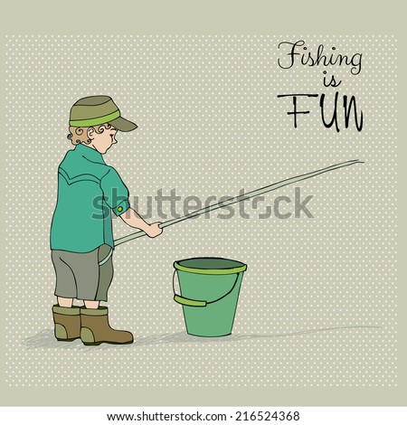 retro illustration of cute boy fishing - stock photo