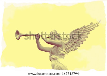 Retro image of trumpeting golden music angel statue  - stock photo