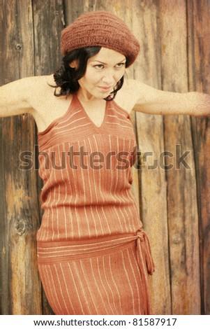 retro image with beauty woman - stock photo