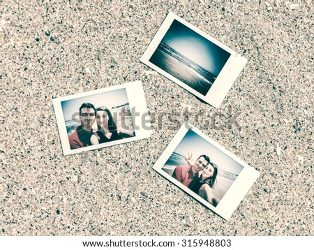 Retro Instant Photos Of Young Happy Couple On The Beach