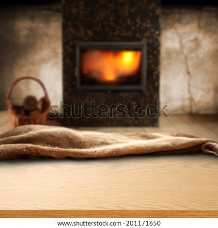 retro interior with fireplace