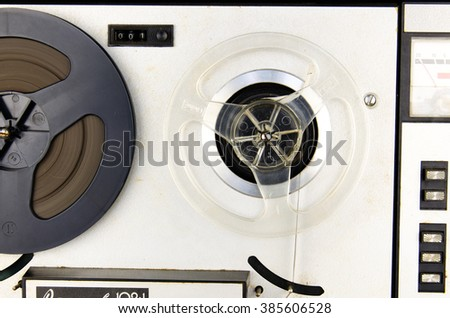 Retro isolated  soviet tape recorder white background. Old portable tube  tape-recorder. Tape recorder Vintage. Old tape-recorder. Analog Stereo Open Reel Tape Deck Recorder Player - stock photo