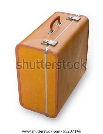 Retro isolated suitcase - stock photo