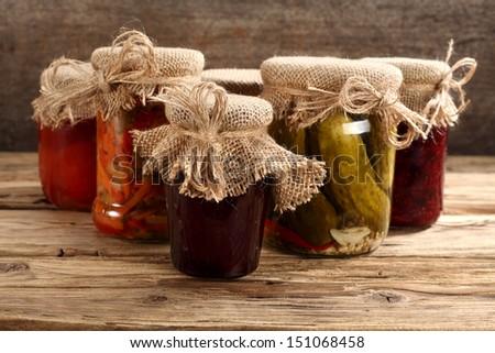 retro jars of food  - stock photo