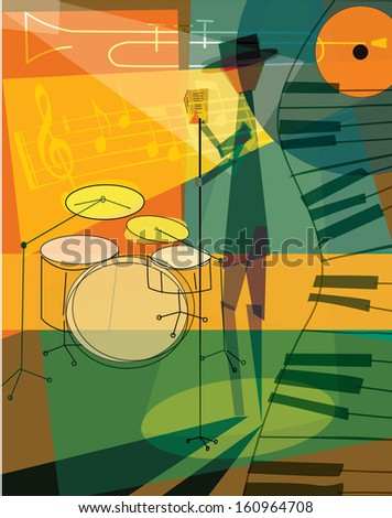 Retro Jazz Musician Template - suitable for posters, flyers, brochures, banners, badges, web advertising, publicity and more - stock photo
