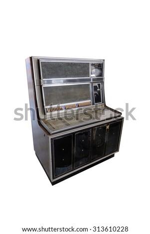 Retro jukebox isolated on white background - stock photo