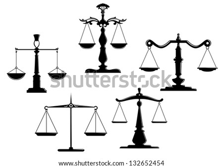 Retro justice scales set isolated on white background. Vector version also available in gallery