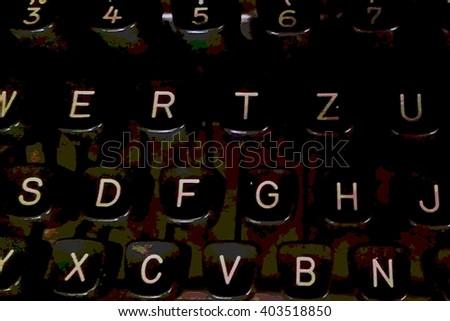 retro keys old typewriter, vintage grunge illustration design element - stock photo