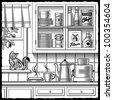 Retro kitchen black and white - stock vector