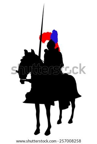 Retro knight and horse on white background - stock photo
