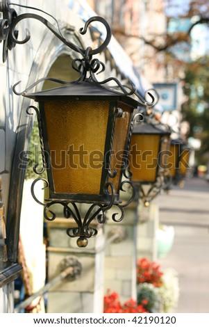 Retro lanterns - stock photo