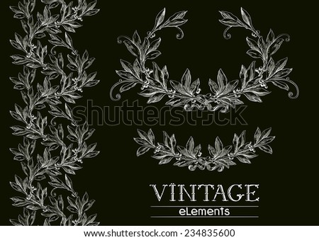Retro laurel wreath. Set of ornate  elements on black background at engraving style. - stock photo