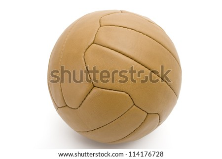 Retro Leather Football - On Orange Background - stock photo