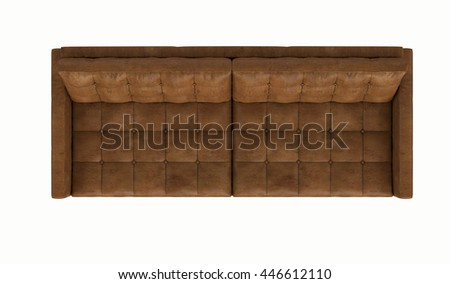 Retro leather sofa isolated on white background , top view - stock photo