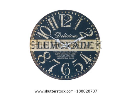 Retro Lemonade Themed Wall Clock Isolated on a White Background