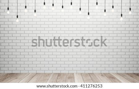 Retro light bulbs in interior with white brick wall and wooden floor. 3D rendering
