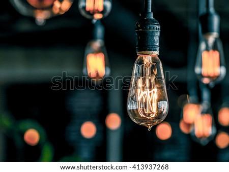 retro lighting - stock photo