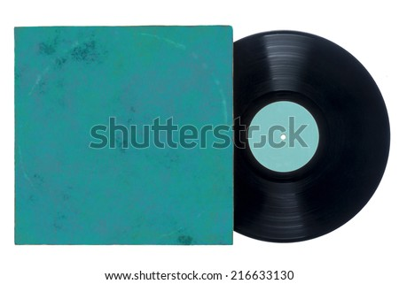 Retro long play vinyl record with grungy blue sleeve. - stock photo