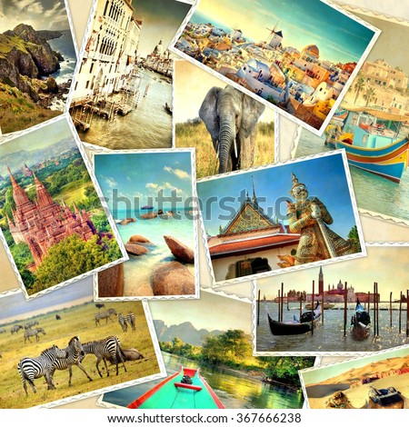 retro look filter used on a collection of images from landmarks around the world  - stock photo