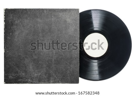 Retro LP vinyl record with sleeve with room for copy. - stock photo
