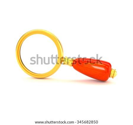 Retro magnifying glass golden isolated on white background. Seo Marketing. 3d illustration. - stock photo