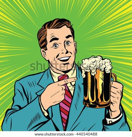 Retro man with a beer pop art. Beer pubs and bars. Retro advertising of alcoholic beverages - stock photo