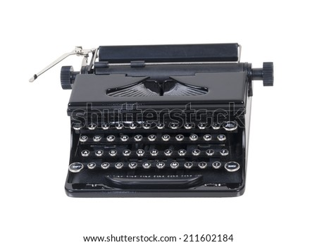 Retro manual typewriter used for typing up documents and papers - path included - stock photo