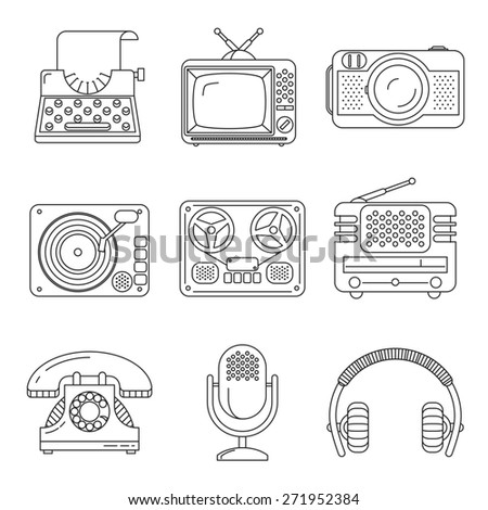 Retro media devices icons in thin line style. Microphone and radio, typewriter and phonograph, headphones and television - stock photo